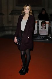 Laura Carmichael stepped out at the David Bowie event wearing a pair of bulky boots.