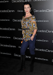 Debi wore a print tunic over jeans to the Decades Denim Launch.