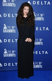 Lorde was goth in a long-sleeve black Acne dress during the Delta Air Lines Grammy party.