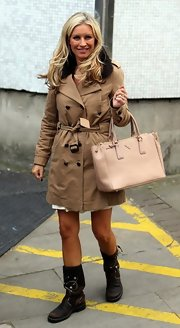 Denise van Outen was seen out of London studios wearing a classic double breasted trenchcoat.