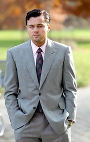 Leonardo DiCaprio's floral tie added a nice splash of color to his ensemble on 'The Wolf of Wall Street.'