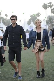 Diane Kruger chose a fleece-lined denim jacket for her retro-styled look at Coachella.