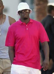 Sean Combs kept cool in this white bucket hat while out in Miami.