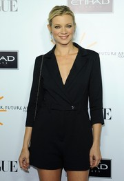 Amy Smart sported a fun yet chic romper at the Dream for Future Africa Foundation Gala.