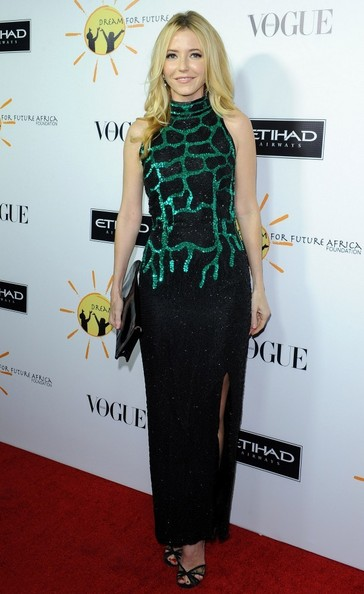 Madison Walls donned a beaded black turtleneck gown with green accents on the bodice for the Dream for Future Africa Foundation Gala.