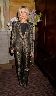 Laura Whitmore rocked a gold tapestry-print pantsuit at 'The Great Gatsby' drink recepetion.