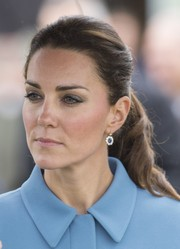 Kate Middleton pulled her hair back into a lovely ponytail for the Royal Family's tour of the Omaka Aviation Heritage Centre.