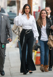 Eiza Gonzalez wore a fitted white button-down with oversized sleeves for her appearance on 'Kimmel.' Very Carolina Herrera!