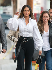 Eiza Gonzales styled her trousers with a black leather belt with silver hardware for her appearance on 'Kimmel.'