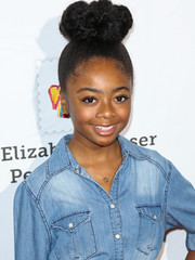 Skai Jackson rocked a voluminous top knot at the Time for Heroes Family Festival.