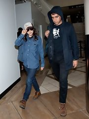 Ellen Page sported denim on denim when she wore this denim button down over a pair of darker jeans.