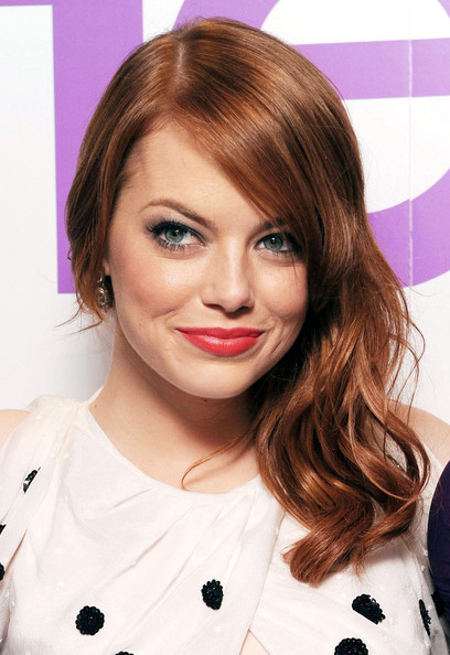 Emma Stone Long Side Part