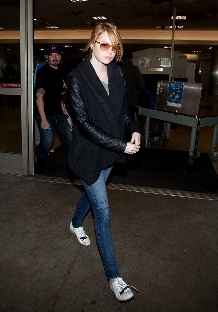 Emma+Stone in Emma Stone and Andrew Garfield at LAX