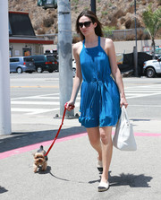 Emmy Rossum looked adorable in a pleated blue mini dress while waking her dog.