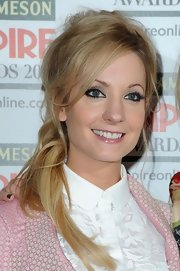 Joanne Froggatt chose a teased, messy ponytail for her mod-inspired red carpet look at the Empire Film Awards.