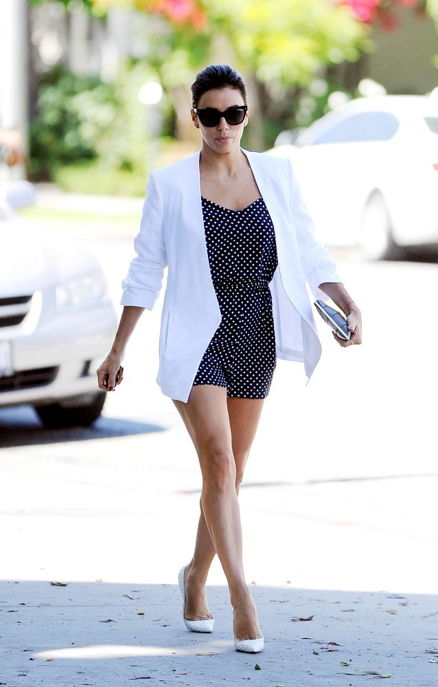 Eva Longoria 39 S Polka Dot Romper You Voted The Best Celebrity Street Style Moments Of 2014