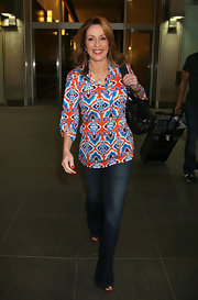 Patricia Heaton was spotted in a bright print blouse at LAX.