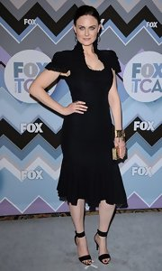 Emily Deschanel wore this modernized Victorian LBD to the Fox All-Star Party.