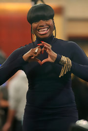 Fantasia Barrino wore a fab fringed gold cuff bracelet for an appearance at 'Good Morning America.'