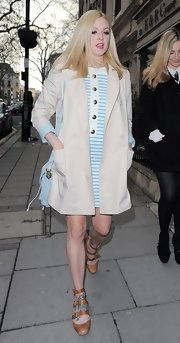 Fearne Cotton paired a classic trench over a blue striped frock for a cool mod-inspired look.