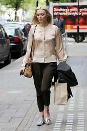 Fearne Cotton wore silver metallic loafers while out in London.
