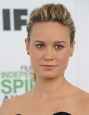 Brie Larson styled her hair into a pompadour-inspired ponytail for the Film Independent Spirit Awards.