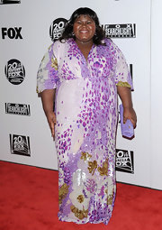 Gabourey was head to toe in sequins at the Golden Globes after party in a leopard and leaf print evening dress.