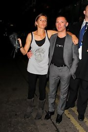 Frankie Dettori's patterned gray suit was a dapper choice for a night out.