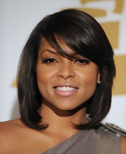 Taraji P. Henson wore her sleek bob with beveled ends and sexy, side-swept bangs at the GRAMMY nominations concert.