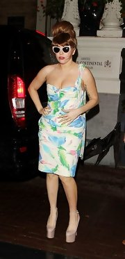 """Lady Gaga wore a surprisingly """"normal"""" floral dress for her outing."""