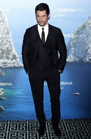 David Gandy chose a three-piece suit with a matching tie for his suave look at the Dolce & Gabbana Party.