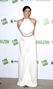 Gemma Arterton wore a white maxi gown with gold chain detailing for the Sky Rainforest Rescue art exhibit hosted by Amazon.