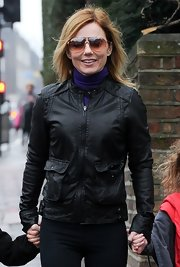 Geri Halliwell rocked this black leather jacket with front side pockets.