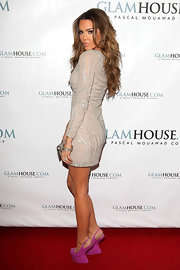 Brittany Binger looked dazzling on the Glamhouse red carpet in a curve-hugging short beaded dress.