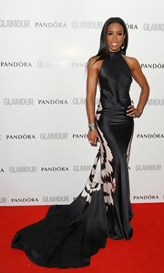 Kelly Rowland had the most dramatic gown at the Glamour Women of the Year Awards with a long print train.