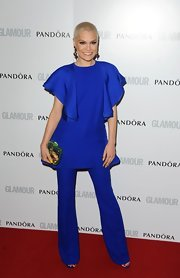 Jessie J rocked a bold royal blue tunic with ruffled sleeves at the Glamour Women of the Year Awards.