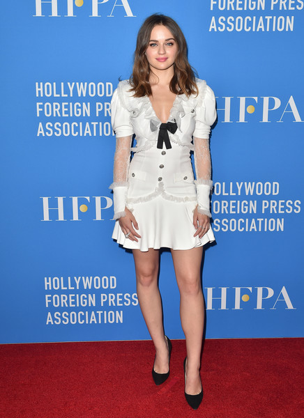 Joey King kept it cute and fun in an Alessandra Rich LWD with lace-panel sleeves and bow detailing at the HFPA Grants Banquet.