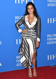 Jenny Slate made business dressing look so fun with this silver and white striped skirt suit by Etro at the HFPA Grants Banquet.