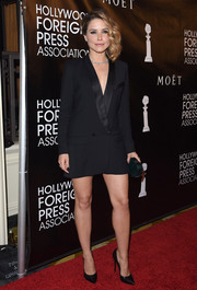 Sophia Bush looked both sharp and sexy in a little black tux dress by Smythe during the HFPA Grants Banquet.