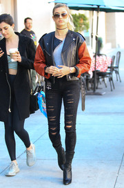 Hailey Baldwin stepped out looking super edgy in a two-tone leather jacket by Isabel Marant.