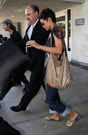 Halle Berry's fringed leather hobo bag had a modernized hippie vibe.