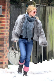 Geri Halliwell was a snow bunny in an ultra-fluffy cropped fur chubby.