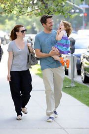 Alyson Hannigan was out and about with hubby Alexis Denisof and daughter Satyana. She opted for comfy footwear, wearing simple chic flats.