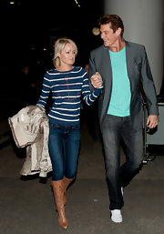 Those tan knee-high boots took Hayley Roberts' look from so-so to super chic.