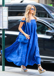 Heidi Klum was a vision on the streets of New York City in an electric-blue off-the-shoulder dress by Three Graces London.