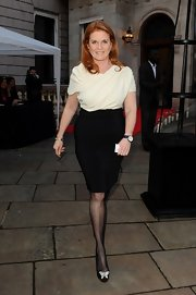 Sarah Ferguson's black pencil skirt gave her a sleek and sophisticated look when paired with a draped blouse.