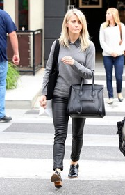 Julianne Hough was preppy in a gray crewneck sweater layered over a collared shirt while shopping on Melrose.