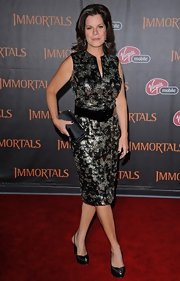 Marcia Gay Harden chose black slingbacks to wear with her sequined dress at the premiere of 'Immortals.'