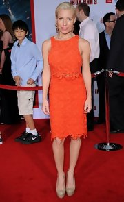 Tracy Anderson's orange lace dress looked totally stylish on the fitness guru.