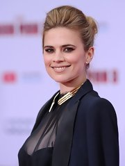 A slightly messy, pinned updo and teased tresses topped off Hayley Atwell's cool, contemporary red carpet look.